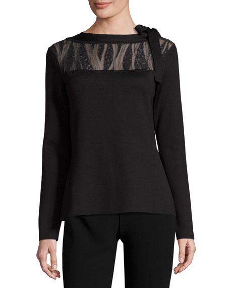Lace-Yoke Cashmere Sweater, Black