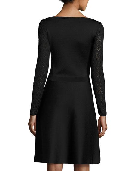 Knit Dress w/Lace Long Sleeves, Black