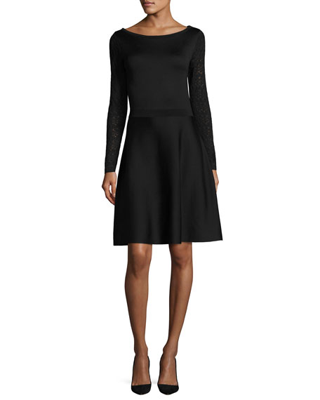 Knit Dress w/Lace Long Sleeves, Black
