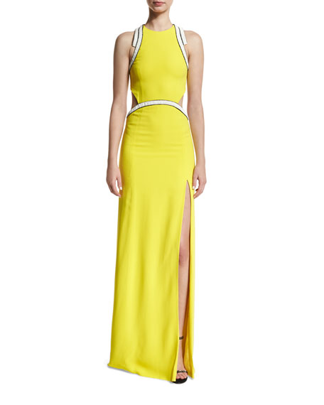 Embellished Cady Open-Back Gown, Yellow