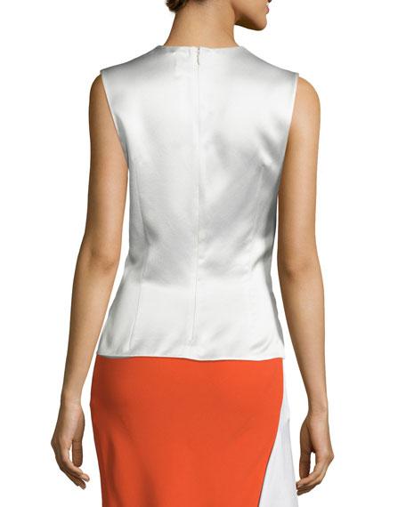 Sleeveless Satin Top w/Cutouts, White