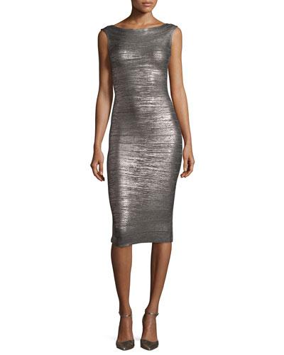 Sleeveless Bateau-Neck Bandage Dress, Rose Gold