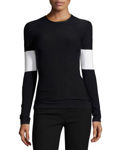 Long-Sleeve Arm-Stripe Top, Black