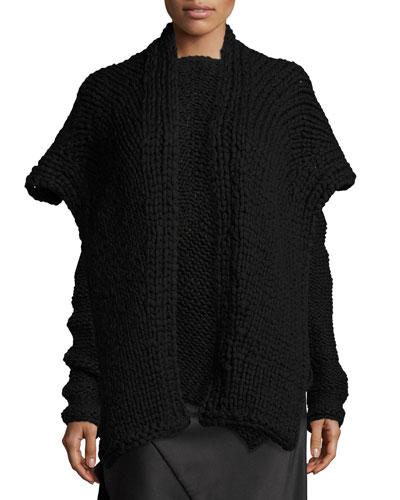 Knit Cashmere Scarf, Black