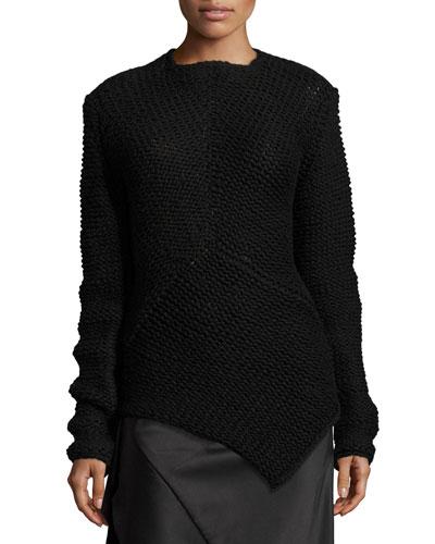 Asymmetric Knit Cashmere Sweater, Black