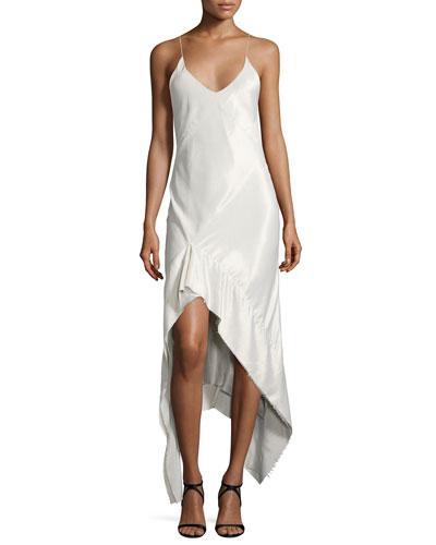 Velvet Asymmetric-Hem Slip Gown