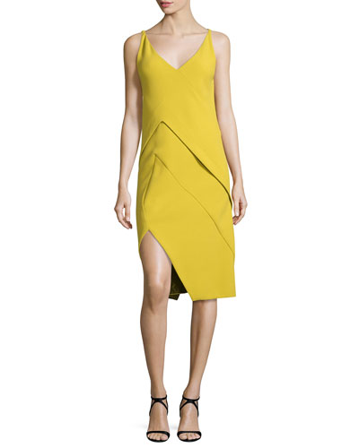 Sleeveless Crepe Dress w/Asymmetric Layers, Sulfur