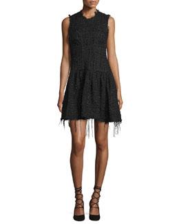 Raw-Edge Tweed Mini Dress, Black