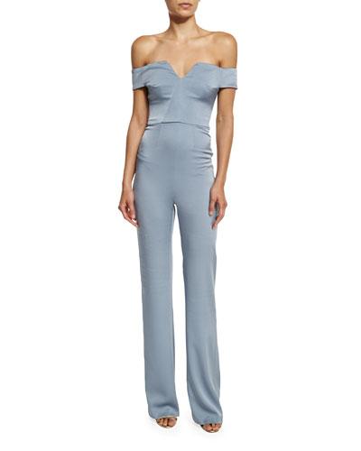 Off-Shoulder Satin Jumpsuit, Steel Blue