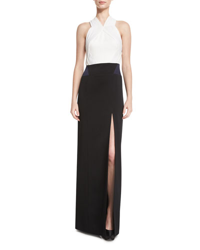 Pleated Crepe Combo Halter Gown, Black/White/Midnight