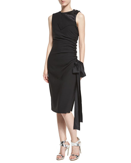 Sleeveless Ruched Dress w/Satin Trim, Black