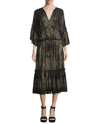 Metallic-Embroidered Bell-Sleeve Dress, Black