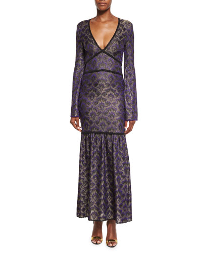 Metallic Jacquard Long-Sleeve Gown, Purple
