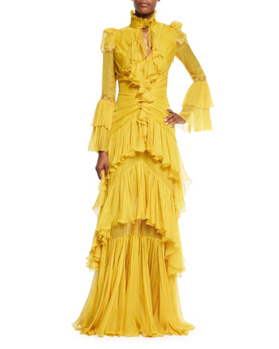 Tiered Chiffon High-Neck Gown, Yellow