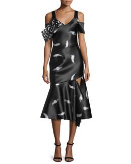 Feather-Print Satin Midi Dress, Black