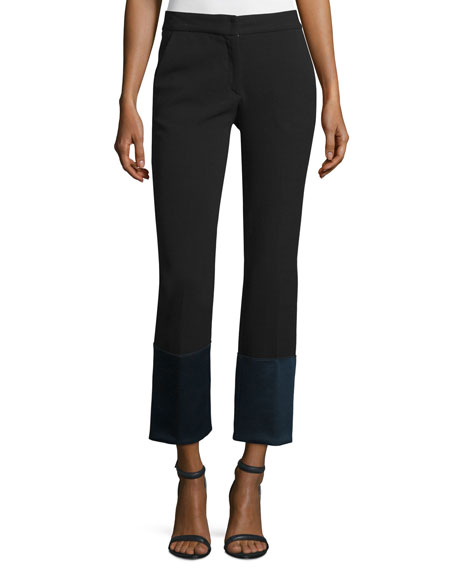 Derek Lam Cuffed Flare-Leg Pants, Black/Navy