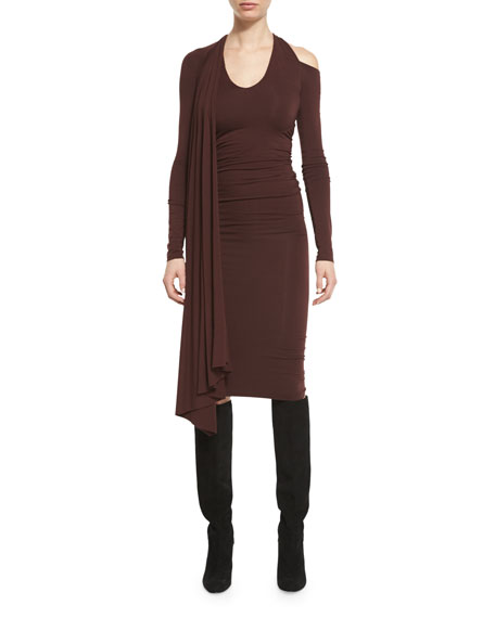 Draped Jersey Cold-Shoulder Dress, Wine