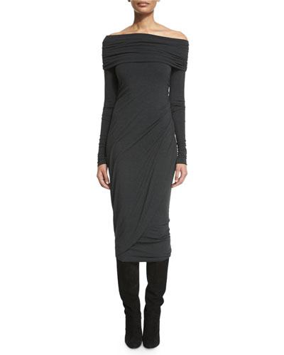 Off-the-Shoulder Long-Sleeve Jersey Dress, Petrol