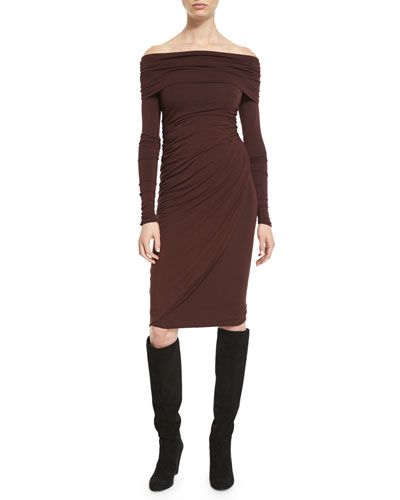 Off-the-Shoulder Long-Sleeve Jersey Dress, Wine