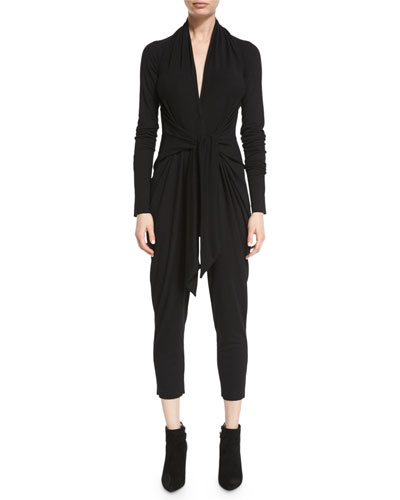 Long-Sleeve Tie-Front Jersey Jumpsuit, Black