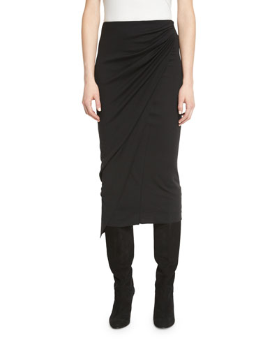 Draped Jersey Midi Pencil Skirt, Black