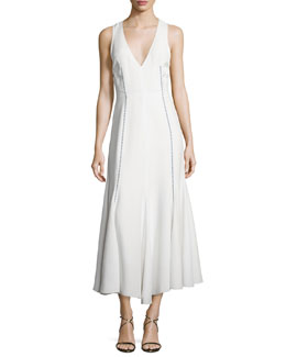 Sleeveless V-Neck Arrow-Stitch Dress, White