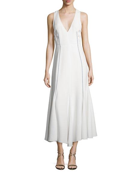 Sleeveless V-Neck Arrow-Stitch Dress, White