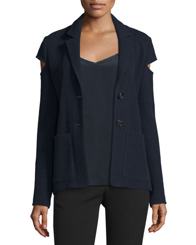 Two-Button Blazer w/Cutout Sleeves, Navy