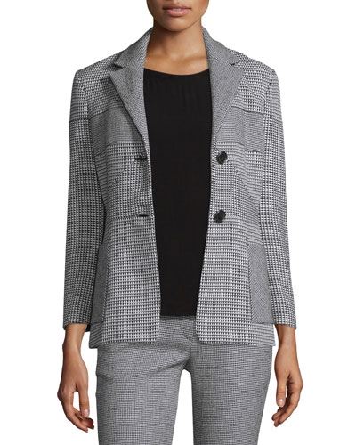 Patchwork Houndstooth Blazer, Black/White