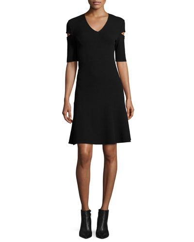 V-Neck Slash-Sleeve Dress, Black