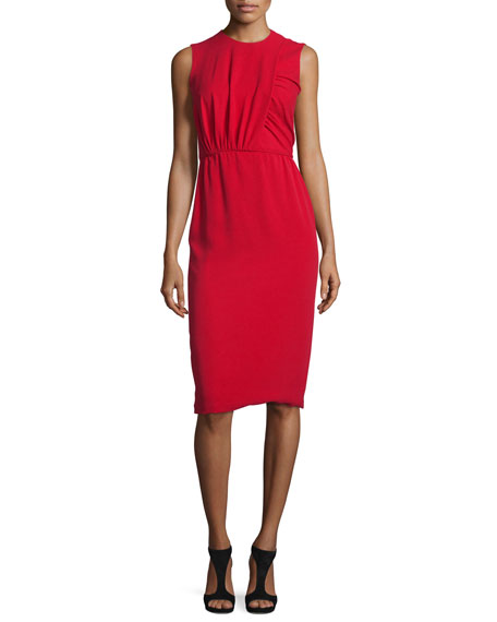 Sleeveless Ruched Sheath Dress, Red