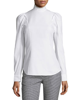 Mock-Neck Puff-Sleeve Blouse, White