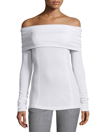 Folded Off-the-Shoulder Long-Sleeve Top, White