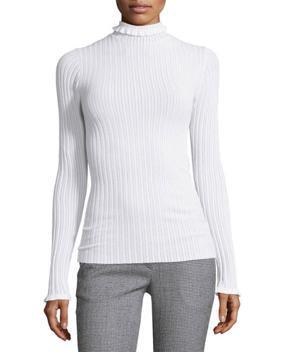 Ribbed Ruffle-Trim Turtleneck Sweater, White
