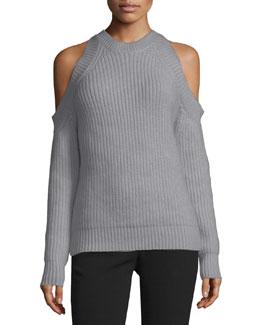Knit Cold-Shoulder Sweater, Dark Gray Melange