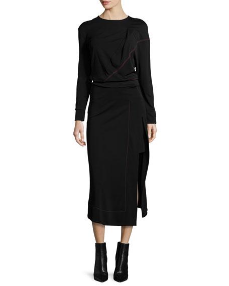 Atlein Long-Sleeve Midi Dress w/Contrast Stitching, Black/Red