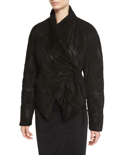 Padded Suede Wrap-Front Jacket, Black