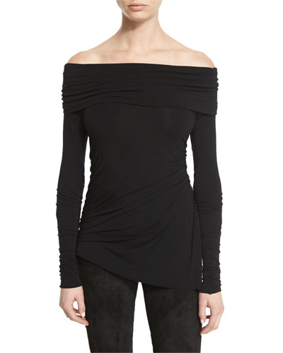 Stretch-Jersey Long-Sleeve Off-the-Shoulder Top, Black