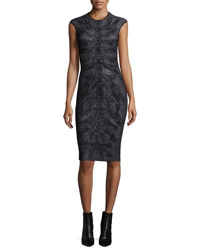 Cap-Sleeve Spine Lace Dress, Black/White