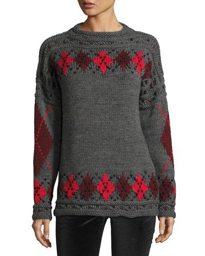 Gibson Argyle Roll-Neck Sweater, Gray