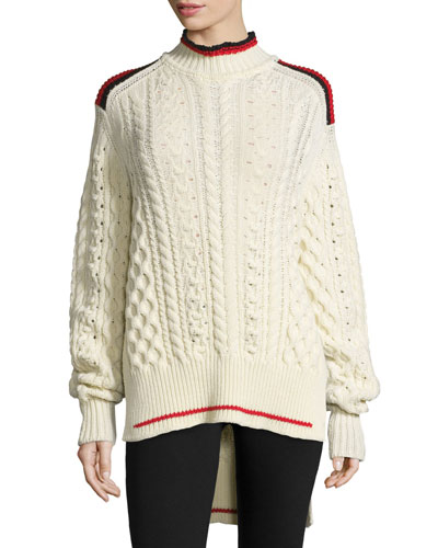Stripe-Trim High-Low Cable-Knit Sweater, Ecru