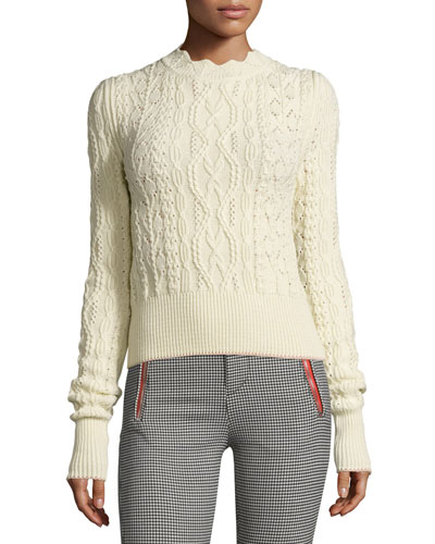 Scalloped Cable-Knit Sweater, Ecru