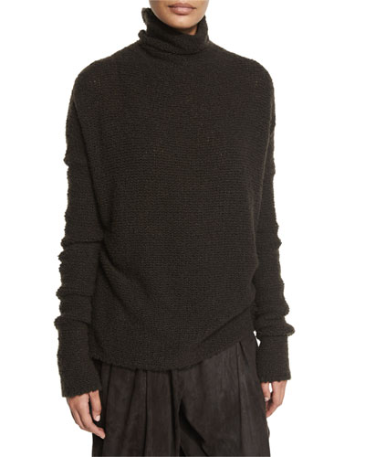 Knit Cashmere-Blend Turtleneck Sweater, Mud