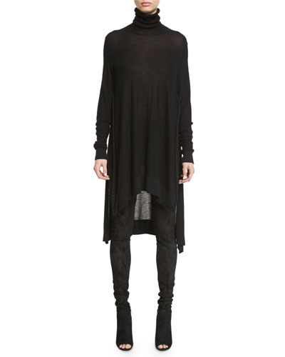 Side-Slit Knit Turtleneck Tunic. Black