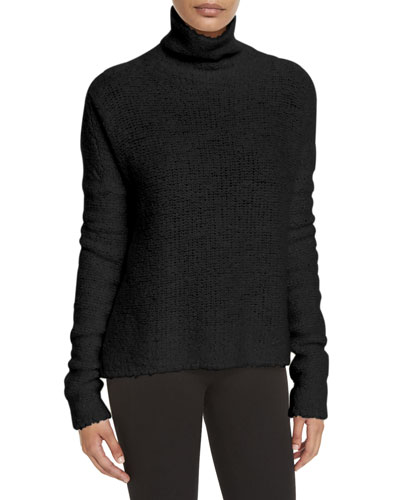Knit Cashmere-Blend Turtleneck Sweater, Black