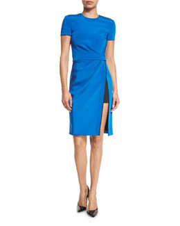 Topstitched Short-Sleeve Side-Slit Dress, Azure