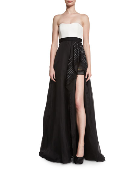 Strapless Topstitched Bicolor Faille Gown, Black/Lily White