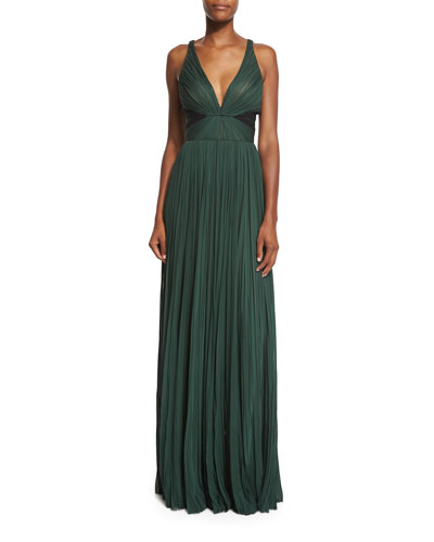 V-Neck Pleated Chiffon Gown, Spruce