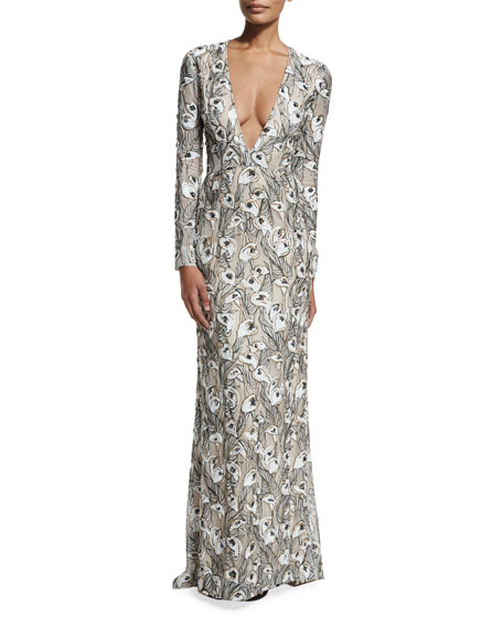 Plunge-Neck Embroidered Long-Sleeve Gown, Lilly White