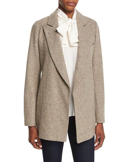 Wrap-Front Herringbone Wool Jacket, Brown